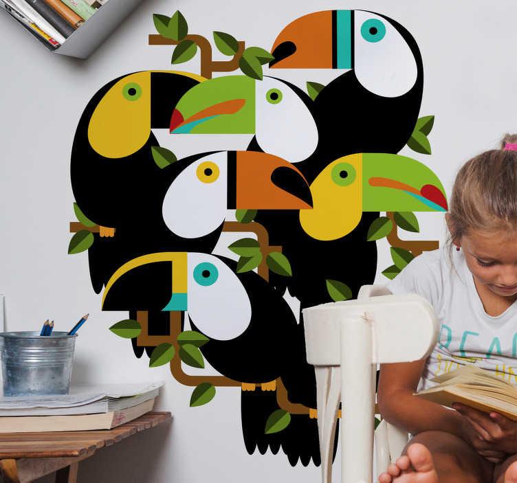 TenStickers. Naklejka na ścianę kolorowe tukany. Naklejka na ścianę do pokoju dziecięcego lub młodzieżowego, przedstawiająca kolorowe tukany. Jeśli jesteś fanem egzotycznych zwierząt, musisz ją mieć!