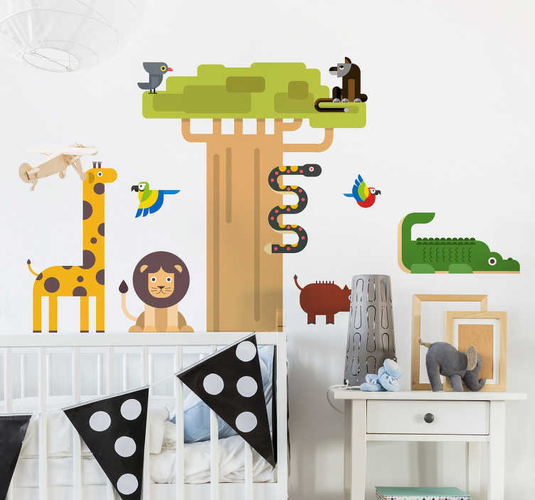 TenVinilo. Vinilo infantil jungla para niños. Lámina de pegatinas con animales de la selva como jirafas, leones, serpientes, cocodrilos o monos y el dibujo de un árbol africano