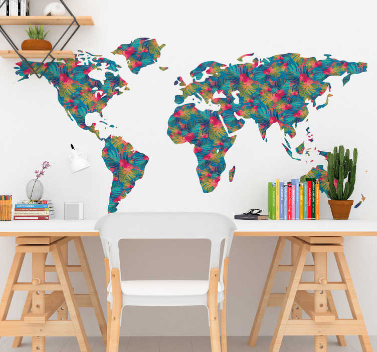 TenStickers. Jungle Pattern World Map Wall Sticker. World map wall sticker with a colourful jungle style design, perfect for decorating the living room or bedroom. This floral pattern shows the world and its continents, the ideal decoration to add some colour to the walls of your home.