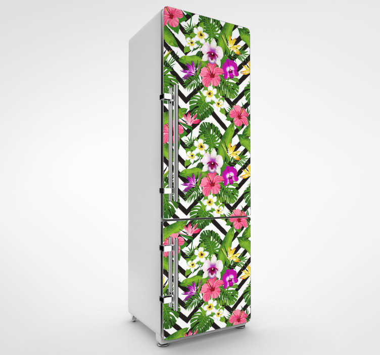 TenVinilo. Vinilo nevera vegetación de la jungla. Vinilo adhesivo para personalizar las puertas de tu frigorífico con una colorida y espectacular textura floral