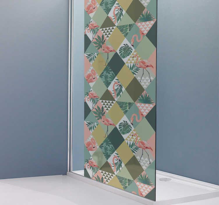 TenStickers. Badkamer sticker douchedeur tropisch. Deze tropische badkamer sticker is perfect voor u. Met deze douchewand sticker wordt douchen een avontuur.