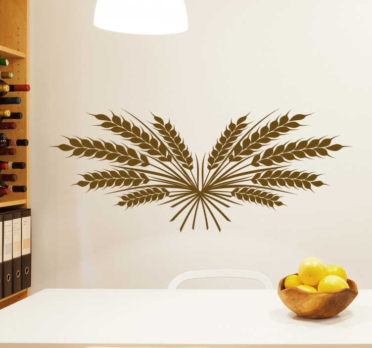 TenStickers. Wheat ears  plant wall decal. Wheat ears plant wall sticker to decorate the kitchen or dinning space in a house. It is easy to apply and available in any required size.