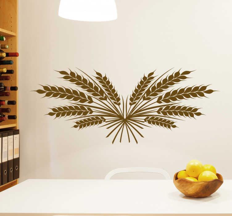 TenStickers. Naklejka na ścianę źdźbła pszenicy. Naklejka na ścianę z motywem źdźbła pszenicy. Dekoracja idealna do kuchni lub jadalni, żeby nadać pomieszczeniu swojski klimat!