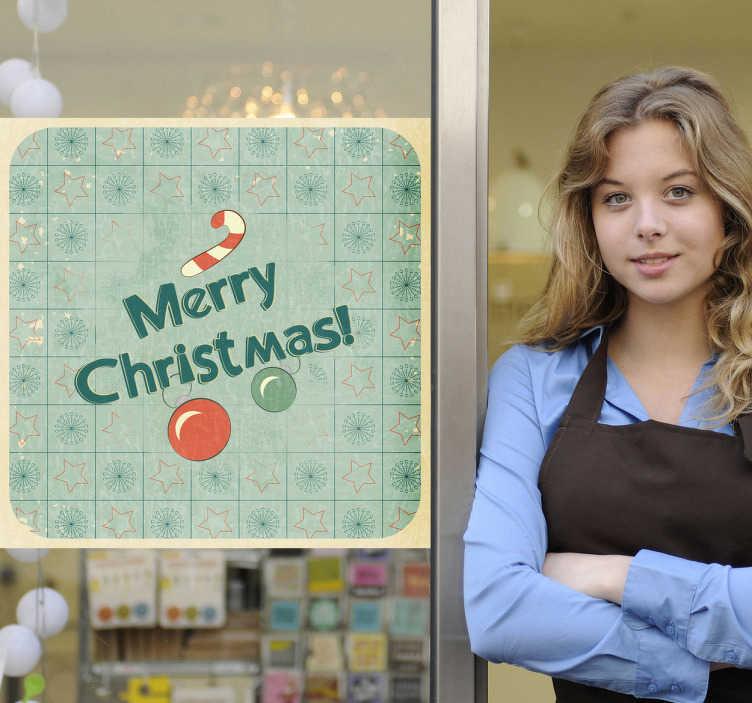 """TenStickers. Sticker affiche merry christmas. Stickers représentant une affiche avec écrit """"Merry Christmas"""".Adhésif applicable sur une vitrine de boutique à l'approche de la fête de Noël."""