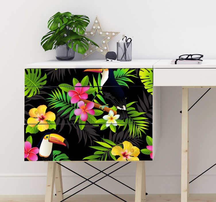 TenStickers. Naklejka na meble tropikalne kwiaty i tukany. Naklejka na meble i ściany z kolorowym motywem tropikalnych roślin, kwiatów i zwierząt. Jeśli jesteś fanem egzotycznych miejsc, ta dekoracja jest idealna dla Ciebie!