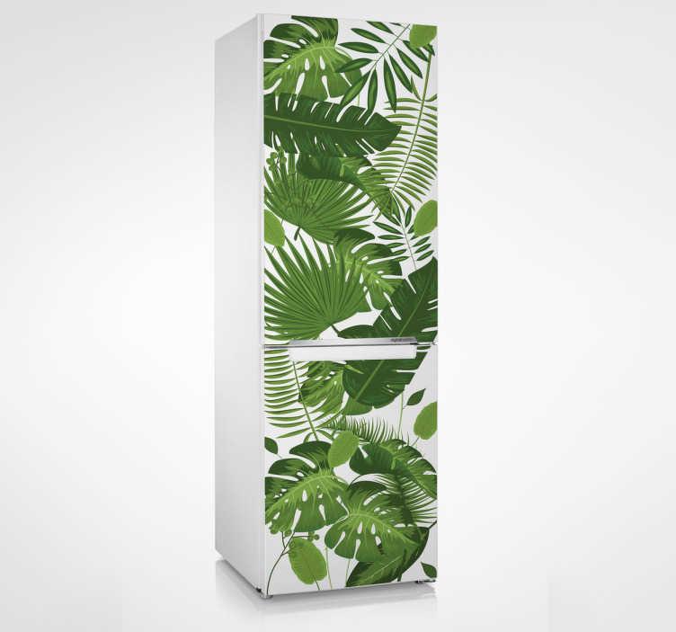 TenVinilo. Vinilo para nevera arboles de la selva. Vinilos para puertas de frigoríficos con una espectacular textura de hojas tropicales como la monstera deliciosa o palmeras