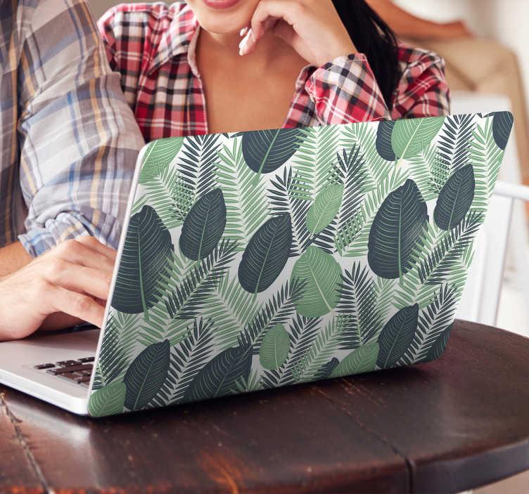 TenStickers. Naklejka na laptopa tropikalne liście. Naklejka na laptopa z motywem tropikalnych liści w różnych odcieniach zieleni. Idealna dla fanów egzotyki!