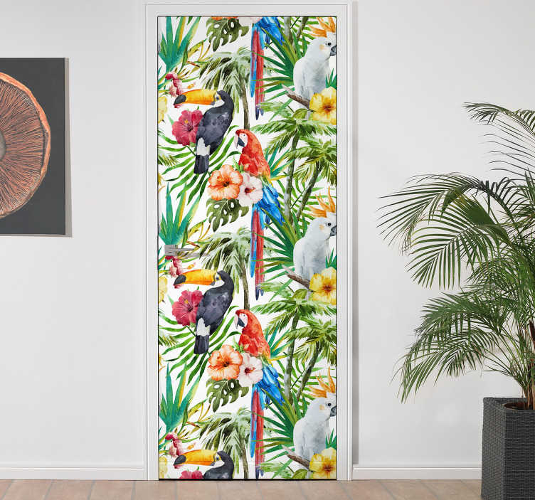 TenStickers. Deursticker jungle. Haal de jungle in huis met deze deursticker met een jungle tafereel.