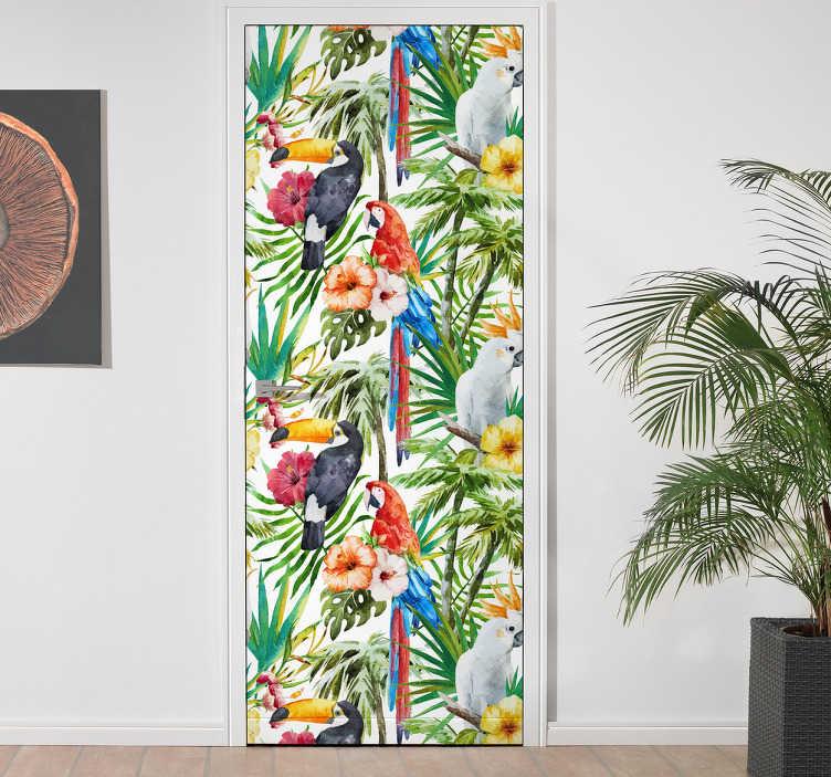 TenStickers. Sticker porte fleurs jungle. Un sticker exotique représentant des toucans, perroquets au milieu de fleurs et feuillages tropicaux. Un adhésif pour portes parfait pour apporter une touche originale et colorée à votre intérieur! Un autocollant fleuri qui sent bon l'été et les tropiques.