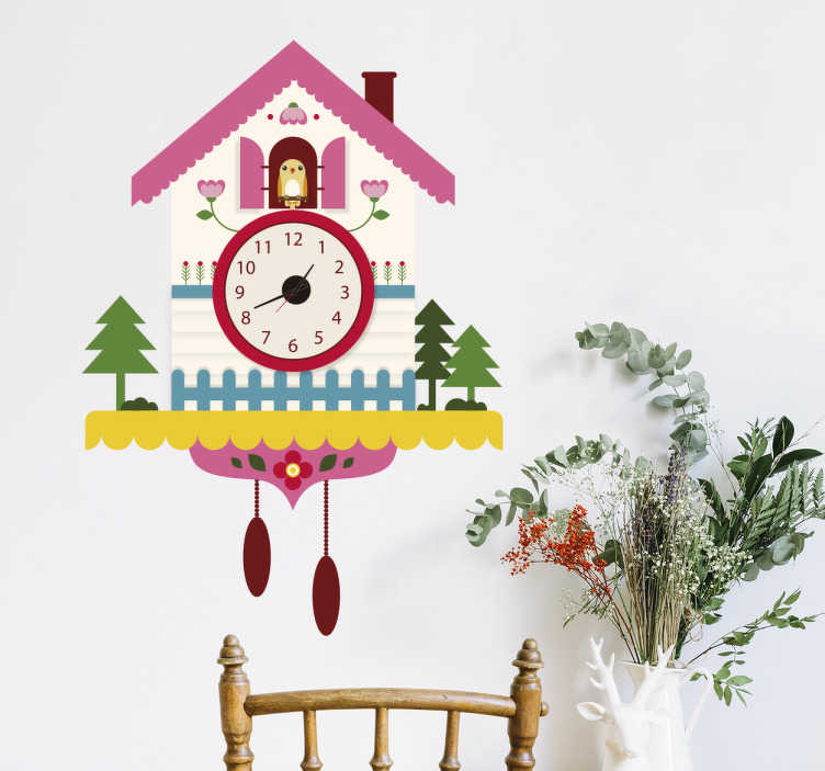 TenStickers. αυτοκόλλητο ρολόι πολύχρωμο ρολόι κούκος. με αυτό το αυτοκόλλητο τοίχου που απεικονίζει ένα ρολόι κούκου, η παρακολούθηση του χρόνου θα είναι πολύ διασκεδαστική! αυτό το πολύχρωμο αυτοκόλλητο ρολογιού θα φέρει χαρά μόνο στους τοίχους σας!