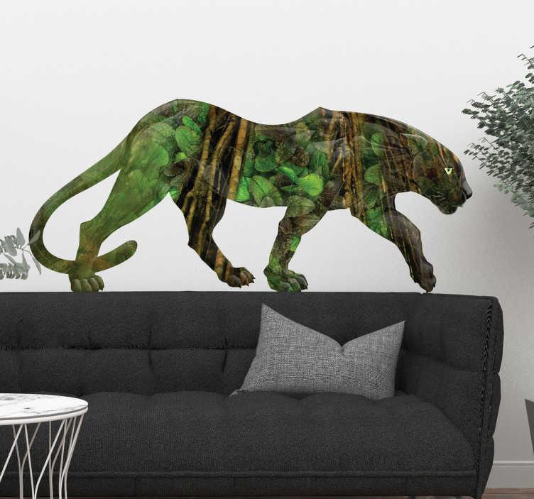 TenStickers. Autocolante decorativo da pantera. Deixe as suas paredes mais exóticas com este autocolante decorativo ilustrando uma pantera com cores da selva, camuflando-se nesta.