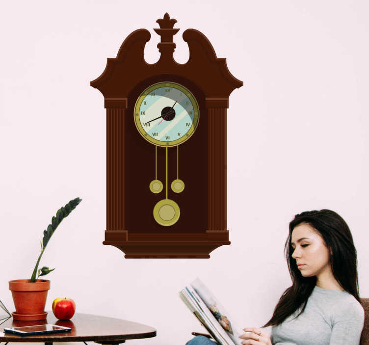 TenStickers. Brown Wooden Clock Wall Decal. Do you like those old wooden clocks? Then we have the perfect wall sticker for you, with this decorative wall clock sticker.