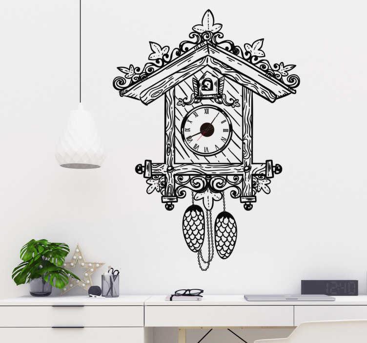 TenStickers. Naklejka na ścianę z motywem klasycznego zegara. Naklejka na ścianę z motywem klasycznego zegara. Do każdej naklejki dołączony jest mechanizm zegara. Idealna ozdoba na ściany salonu lub sypialni!