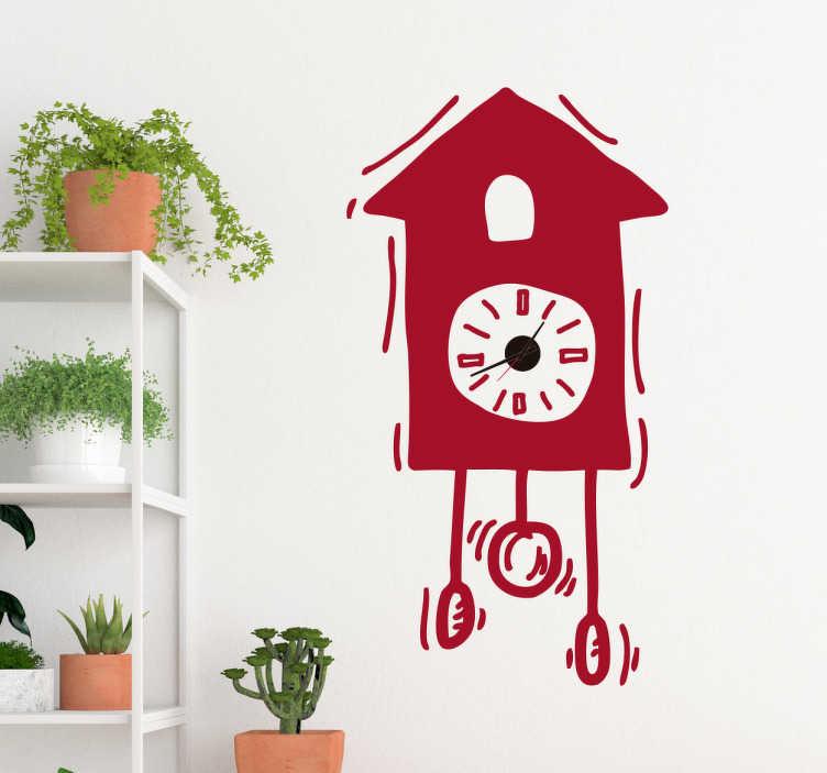TenStickers. Naklejka ścienna z kukułką. Naklejka ścienna z kukułką do dekoracji dowolnego pomieszczenia w domu. Ta naklejka zegara łączy zabytkowe i nowoczesne estetyki ze ścianami, aby zapewnić idealną atmosferę w wystroju domu. Pokazuje wibrujący zegar z kreskówek, ekscytujący rysunek animowany dostępny w 50 różnych kolorach.