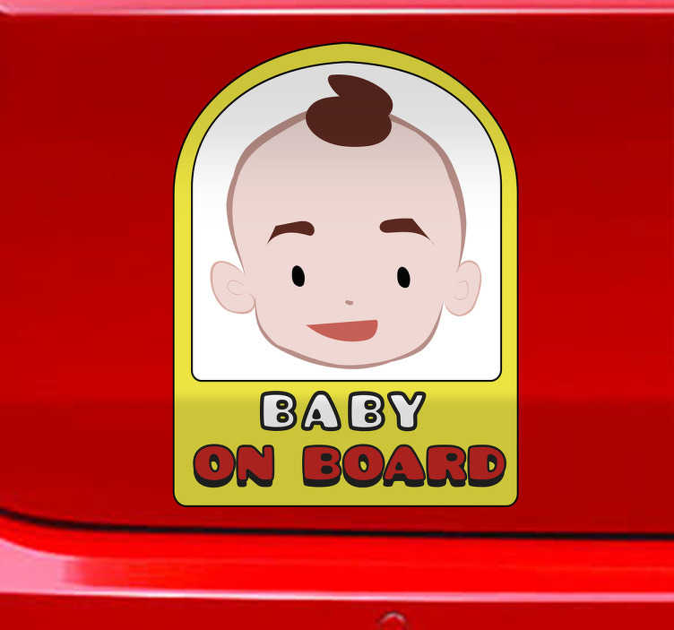 TenStickers. Adesivo per auto bimbo a bordo. Adesivo bebè a bordo personalizzato su tua richiesta con il nome le dimensioni e il colore che preferisci. Di semplice applicazione, originale ed economico.