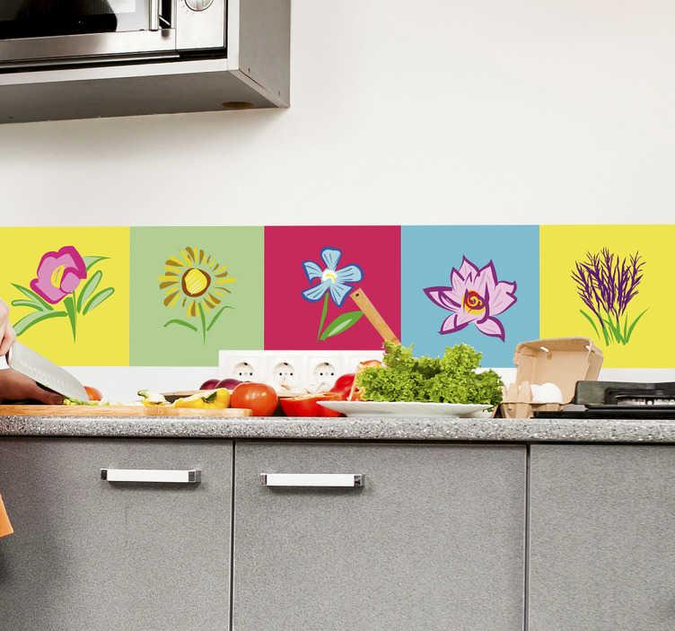 TenStickers. Naklejka na ścianę Kwiaty na kolorowych tłach. Naklejka na ścianę z motywem kwiatów na tle różnokolorowych prostokątów. Dekoracja ścienna idealna, żeby ożywić kuchnię lub jadalnię!