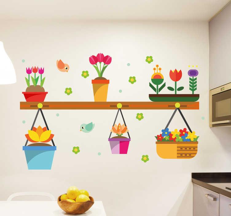 TenStickers. Naklejka na ścianę Kwiaty w doniczkach. Naklejka na ścianę, przedstawiająca doniczki z kwiatami, poustawiane na półce. Idealna naklejka na ściany do kuchni lub jadalni. Dodaj kolorów pomieszczeniu, dzięki tej wyjątkowej dekoracji ściennej!