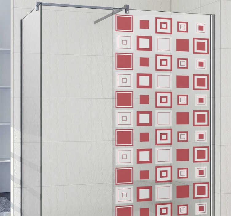 TenStickers. škatla doccia nalepka geometrijski kvadratki. Okrasite svojo kopalnico s to geometrijsko zasnovo. Ta nalepka doccia box z geometrijskimi kvadratki bo takoj spremenila celotno kopalnico.