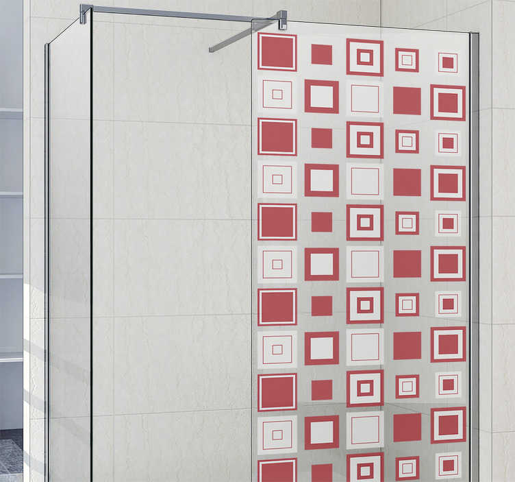 TenStickers. 盒子doccia贴纸几何正方形. 用这种几何设计装饰您的浴室。带有几何正方形的盒子doccia贴纸会立即更改整个浴室。