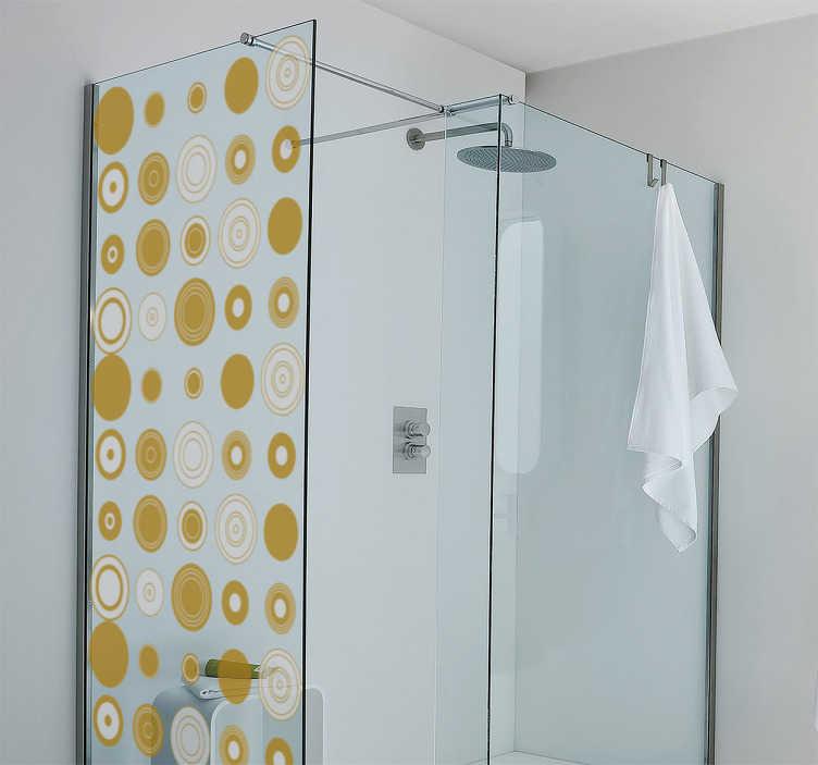 TenStickers. Badkamer sticker gele cirkels. Gebruik badkamer sticker om de badkamer persoonlijk te maken en op te fleuren. Deze sticker bestaat uit verschillende gele cirkels.