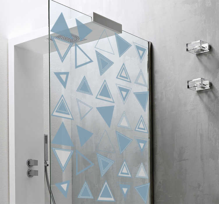 TenStickers. Naklejka na ścianę figury geometryczne trójkąty. Naklejka na prysznicową, przedstawiająca różnej wielkości trójkąty. Ten geometryczny wzór odmieni całkowicie Twoją łazienkę!