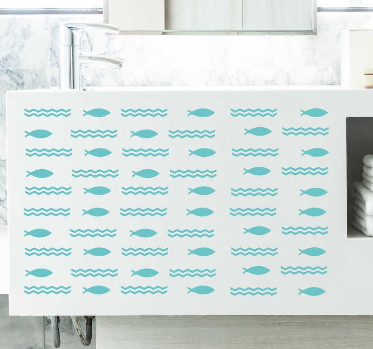 TenStickers. Naklejka rybki i morskie fale. Naklejka na meble, przedstawiająca rybki i fale morskie. Dzięki tej wyjątkowej dekoracji, Twoja łazienka nabierze morskiego charakteru!