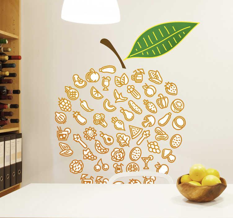 TenStickers. Naklejka ścienna jabłko z jedzeniem. Udekoruj swoje pokoje tą naklejką ścienną jabłka wykonanego z różnych rodzajów żywności. To kolorowe dzieło rozjaśni pomieszczenie i da wszystkim pozytywne odczucia.