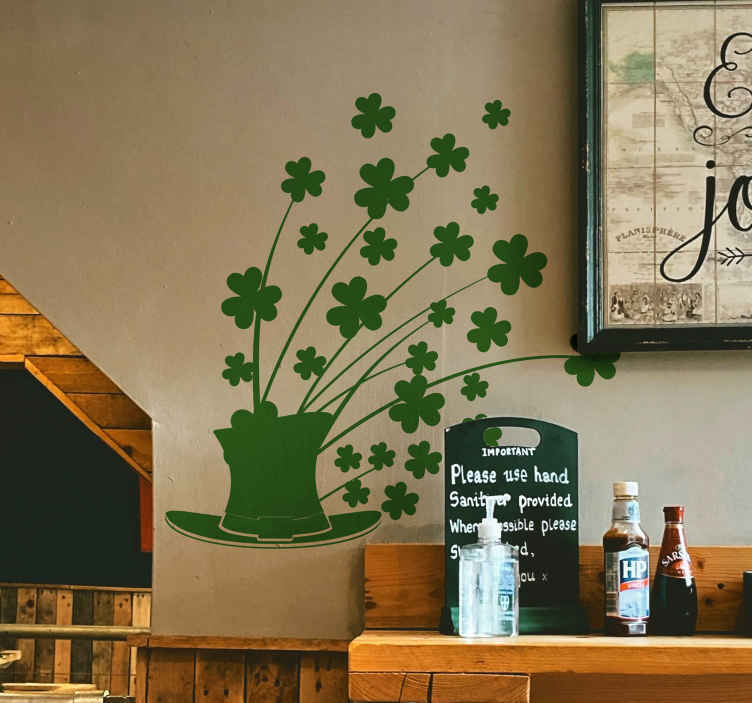 TenStickers. Flowered Clover Hat Wall Sticker. Room Stickers - illustration of a hat with many clovers springing from the top.Original designs great for decorating and styling your home.