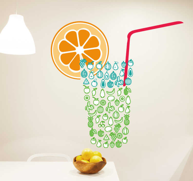 TenStickers. Wall decal glass fruit orange. Bring the beach feeling into your home with this wall decal. This sticker that has a glass made out of fruit with straw and orange will bring the positive vibes into your room.