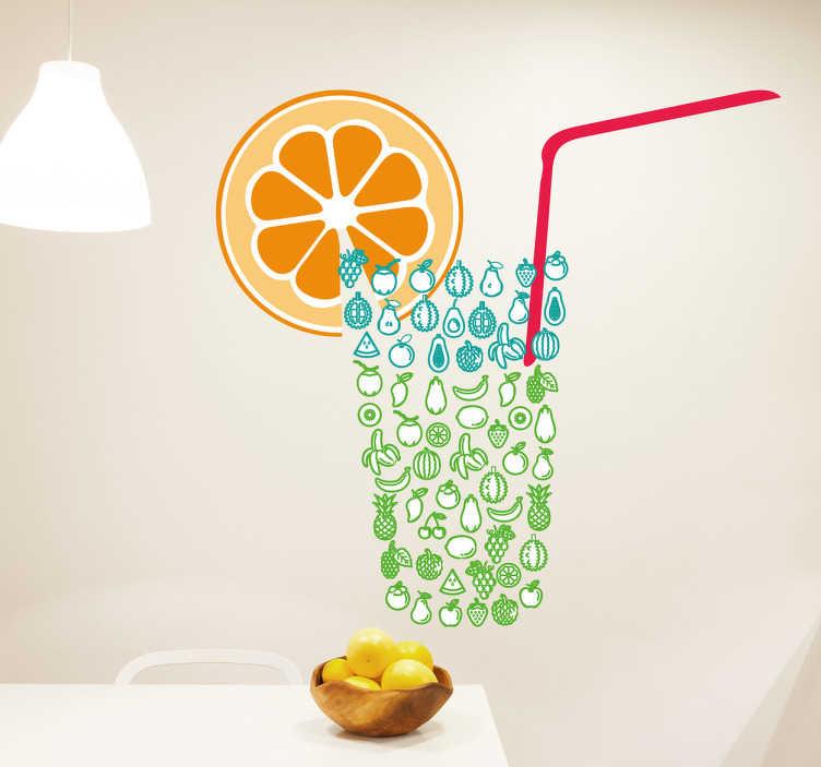 TenStickers. Naklejka scienna szklany owoc pomarańczowy. Poczuj atmosferę plaży dzięki tej naklejce ściennej. Ta naklejka, która ma szklankę zrobioną z owoców ze słomką i pomarańczą, wniesie pozytywne wibracje do twojego pokoju.