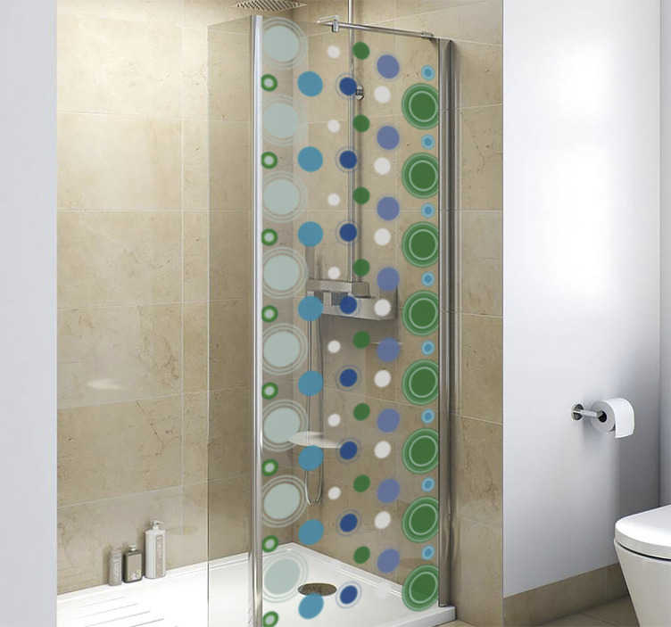 TenStickers. bathroom tile shower sticker. A bathroom shower screen sticker designed with geometric circles. It is easy to apply and self adhesive. We have it in any required dimension.