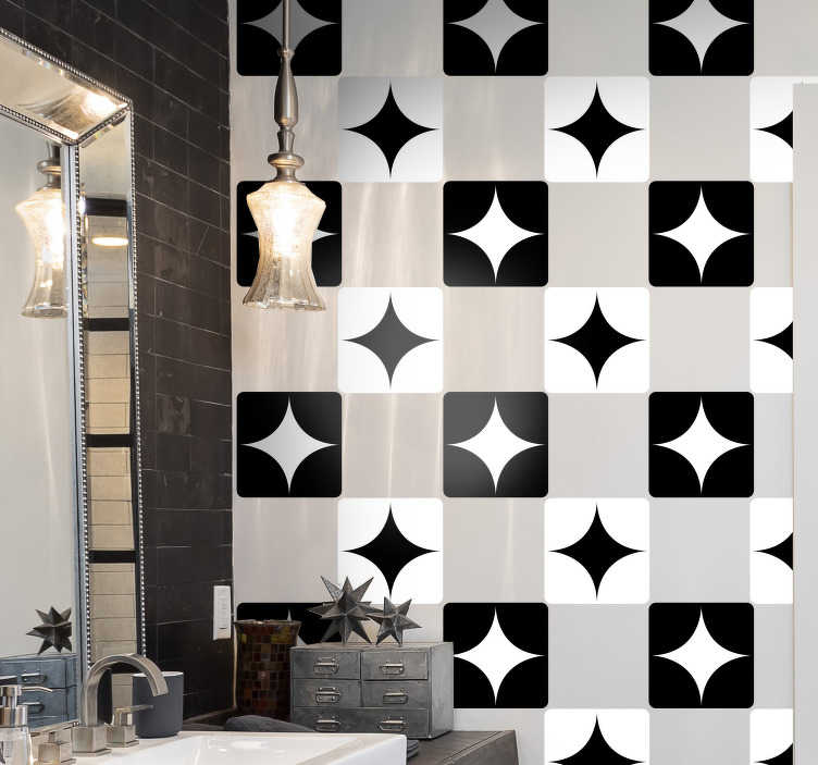 TenStickers. Adhesives for black and white  tile transfer. An adhesive black and white tile decal to decorate the kitchen or bathroom wall space. Easy to apply and waterproof. Choose it in any required option.