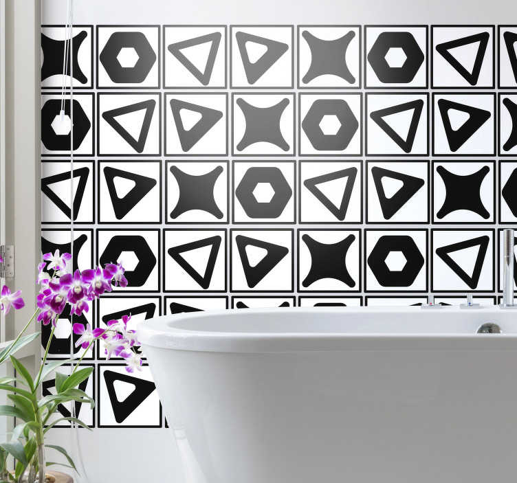 TenStickers. black and white tile transfer. Decorative waterproof tile sticker designed in  geometric shapes.  An ideal decoration for a bathroom or any space in the home.