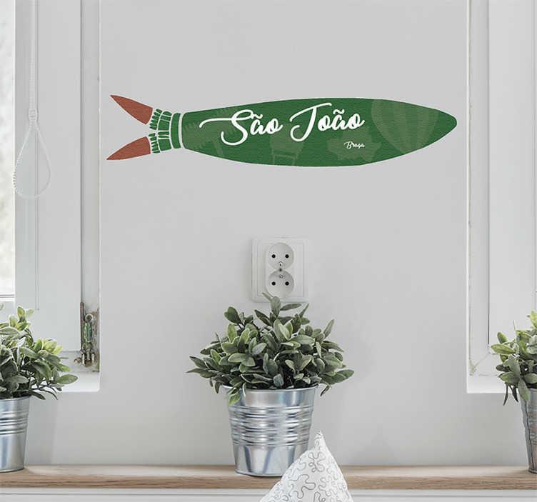 TenStickers. Vinil autocolante sardinha São João. Autocolante de parede fazendo referência às sardinhas da famosa festa, São João. Ideal para colocar em paredes ou vidros.