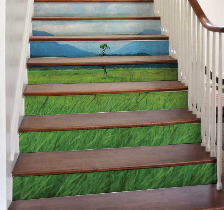 TenStickers. Nature stairs  nature wall decal. An original nature theme stair case sticker with the design of nature. It is available in any required size and easy to apply.