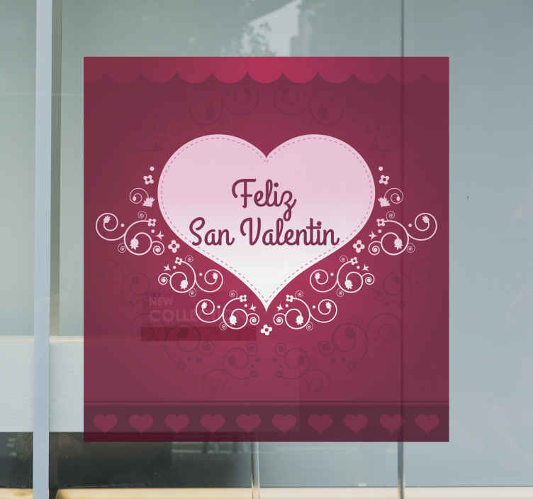 TenStickers. Sticker decorativo cuore San Valentino 1. Celebra la festa degli innamorati decorando le pareti o le vetrine del tuo negozio con questo romantico adesivo.*Indicaci il testo che desideri inserire scrivendolo nel campo osservazioni in fase d'acquisto.