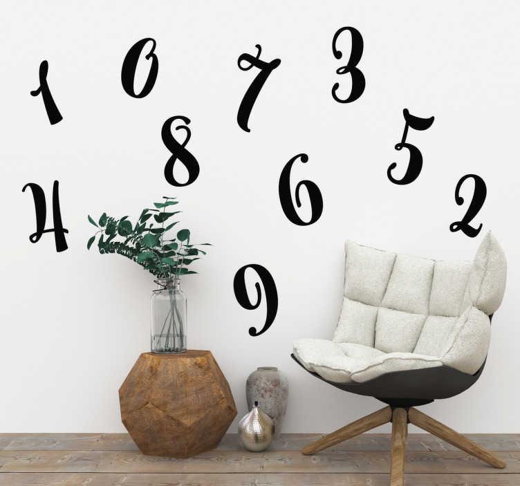 TenStickers. Stencil muro serie di numeri. Set di numeri sticker con le stampe di numeri da 10 a 10. Disponibili in diversi colori e dimensioni.