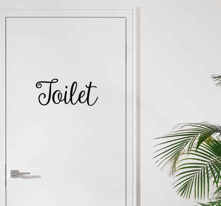 Tenstickers. Toilet Tekstitarra kylpyhuoneeseen. Tyylikkäällä fontilla oleva Toilet tekstitarra kylpyhuoneen oveen. Tämä opastustarra toimii samalla sisustuselementtinä ja saat sillä tyylikkään ilmeen kotisi tai yrityksesi tiloihin.
