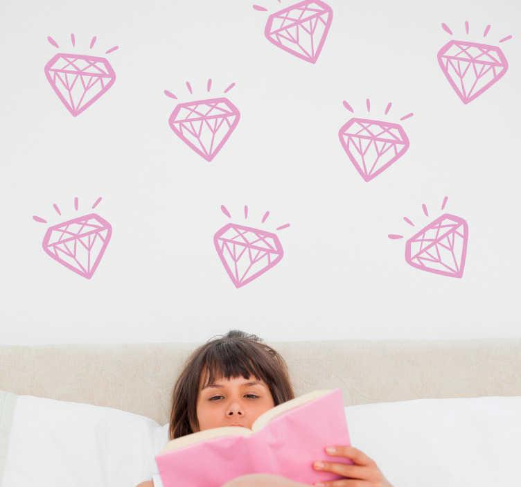Tenstickers. Timantti sisustustarra. Luo haluamasi timanttinen tunnelma valitsemalla nämä timanttikuviot erivärisenä. Vaaleanpunaisena kodin oman prinsessan ilahduttamiseksi, tai mustana vaikka olohuoneen koristeluun.