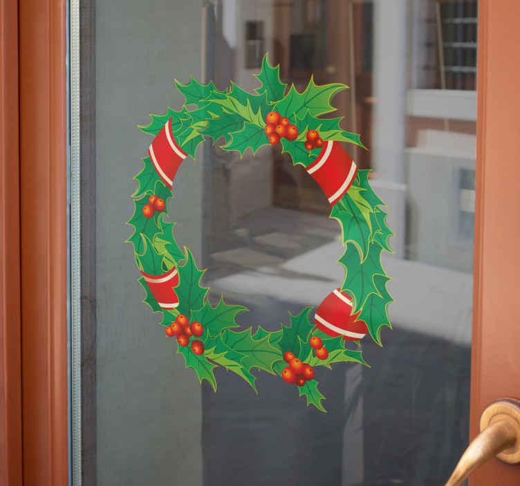 TenVinilo. Vinilo decorativo corona navidad. Típico adorno navideño que se usa para decorar puertas. Adorna tu negocio con un bonito adhesivo representativo de la navidad.
