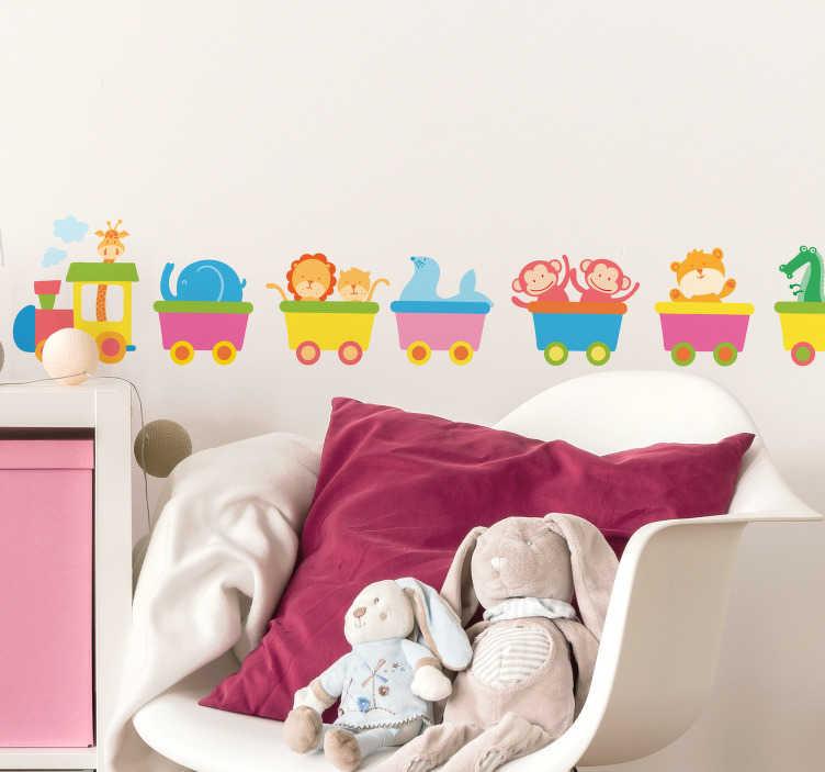 TenVinilo. Vinilo infantil tren animales. Cenefas infantiles con el dibujo de una locomotara conducida por una jirafa y varios vagones con distintos animales.