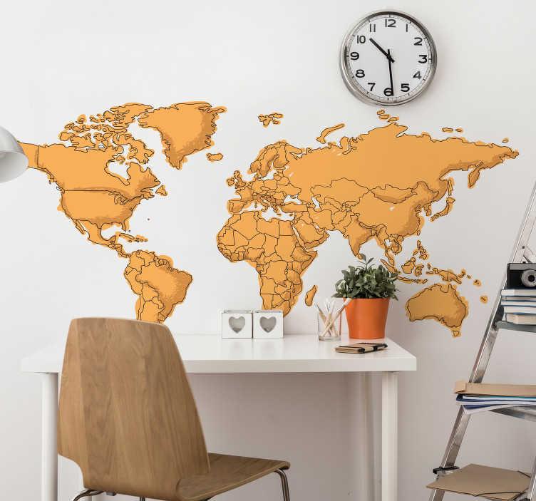 TenStickers. Naklejka ścienna do świata nastolatków. Żółta naklejka ścienna na mapę świata z rysunkiem kreskówki, idealnie nadającym się do dekoracji sypialni nastolatka. Ten prosty, ale skuteczny projekt pokazuje kontynenty świata, ale z nowoczesnymi akcentami, kolory wydają się być rysowane ręcznie, aby nadać pomieszczeniu bardziej osobisty wygląd.