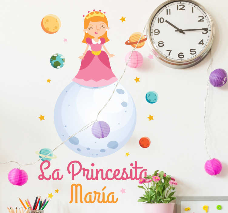 TenStickers. Personalized little princess fairy tale wall decal. Fairy tale wall sticker for children bedroom designed with a princess and can be customized in any name of choice. Easy to apply