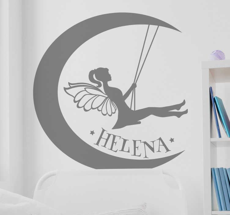 TenStickers. Naamsticker maan en fee. Decoreer en personaliseer de kamer met deze lieve muursticker met maanen fee.