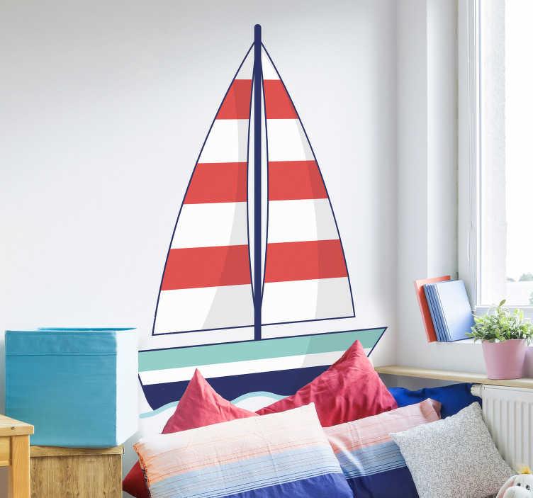 TenStickers. Muursticker zeilboot getekend. De muursticker bestaat uit een getekende zeilboot met rode en witte strepen op de zeilen Deze sticker zal de kamer omtoveren tot een paradijs voor zee liefhebbers.
