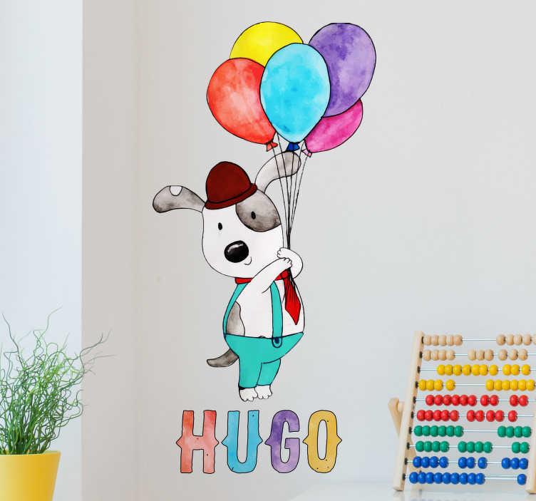 TenStickers. Adesivo murale cane con palloncini nome. Adorabile stencil cane che stringe tanti palloncini colorati. Personalizza il l'adesivo bambini con il nome di tuo figlio
