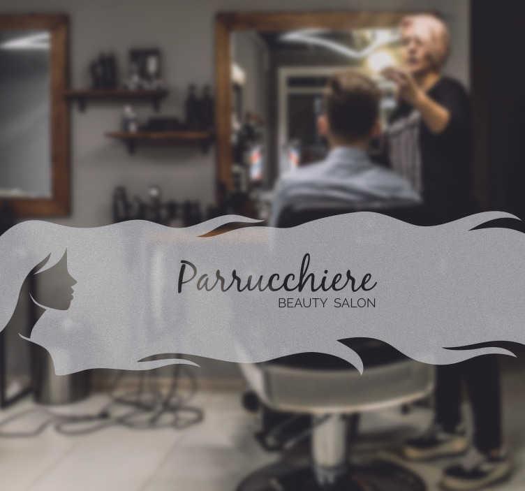 TenStickers. Parrucchiere adesivo personalizzato. Porta le persone a visitare il tuo parrucchiere con questo adesivo originale. Il design esiste di una donna con i capelli lunghi su cui puoi mettere il nome del tuo salone.
