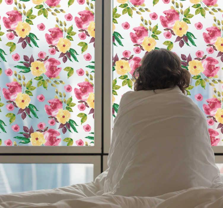 TENSTICKERS. 窓接着性野生の花. この窓の接着剤はあなたの部屋に新しく、活気のある感じを与えるでしょう。このステッカーは、赤、紫、黄色、緑色の複数の野生の花から構成されています。