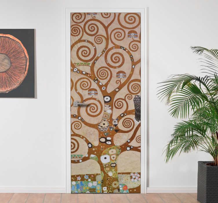 TenStickers. Adesivo porta drzewo życia. To adesivo sprawi, że twoje drzwi będą wyglądać jak drzewo życia. Naklejka jest wykonana z wzorem drzewa życia i ma brązowy i zielony wzór.