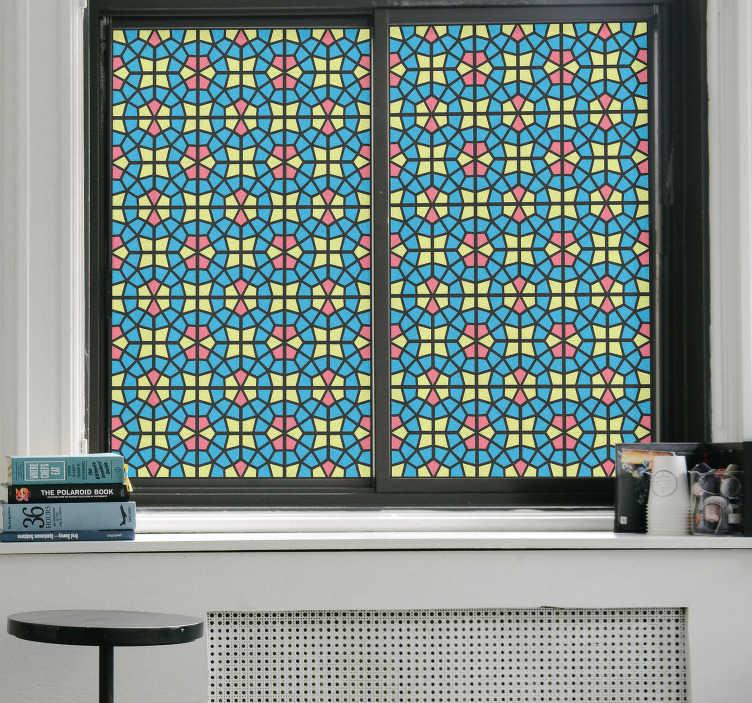 TenStickers. Przezroczysta mozaika adesivo. Udekoruj swoje okna tym intensywnym i atrakcyjnym adesivo. Ta naklejka rozjaśni twoje pokoje i zapewni ci dużo prywatności.